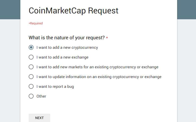Submit your cryptocurrency to coin market cap